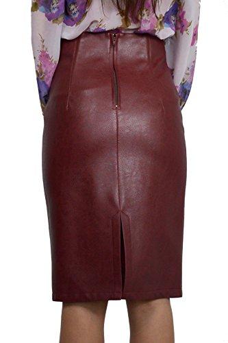 Les Femmes Faux Cuir Taille Haute Crayon Bodycon Jupe boudaux EU 36 38 40 42 44 46 48 50 (38)