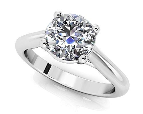 14K Or blanc diamant rond Cathédrale de bague de fiançailles