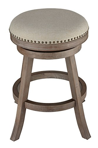 Cortesi Home Sadie Backless Swivel Counter Stool in Solid Wood & Beige Fabric Country Beige Swivel Counter Stools