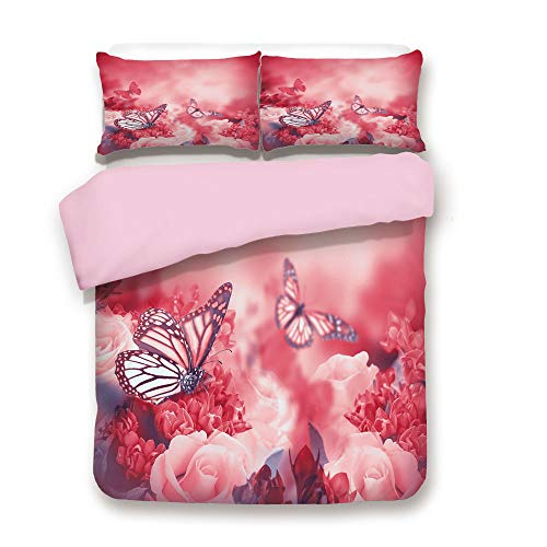 (Pink Duvet Cover Set,King Size,Romantic Bouquet of Roses with Butterflies Dreamy Spring Garden Buds Blooms Decorative,Decorative 3 Piece Bedding Set with 2 Pillow Sham,Best Gift For Girls Women,Dark C)
