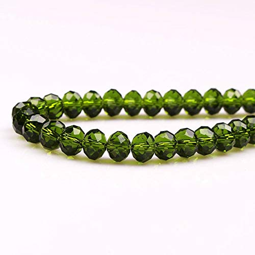 Pukido 8mm 70pcs Crystal Beads Loose Beads Crystal rondelles Beads Glass Ball Bracelet Jewelry DIY Flat Round Faceted Crystal Beads - (Color: Olive Green, Item Diameter: ()