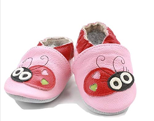Pink Ladybug Detailed Leather Crib Shoes from Chunks of Charm (6/12 Months) ()