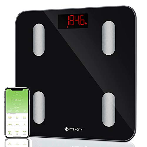 Etekcity Smart Bluetooth Body Fat Scale - Digital Bathroom Weight Scale with APP to Monitor 13 Body Composition Include Body Fat, BMI, BMR, Muscle, Bone, Protein and More, FDA Approved ()
