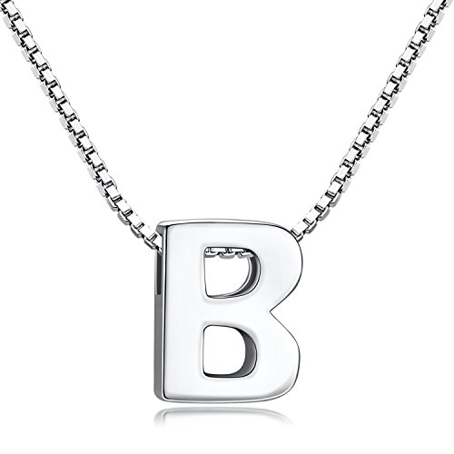 Candyfancy B Initial Necklace 925 Sterling Silver Alphabet Personalized A-Z Letter Pendant Necklace for Women Girls Gift with 18