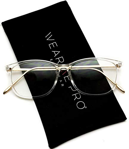 WearMe Pro - Rectangular Slim Elegant Fashion Clear Glasses (Clear Frame, ()