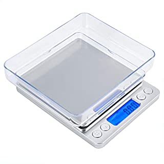 Gram Scale, Mafiti Kitchen Scale Digital Weight Grams Jewelry Scale 3000g x 0.1g with LCD Display Stainless Steel Platform for Cooking Baking Jewelry Weight Postal Parel (Battery no Include))