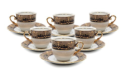 Royalty Porcelain 12-pc Miniature Espresso Coffee Set, Cups and Saucers, Vintage Cobalt Blue and Gold Pattern, Bone China Tableware -