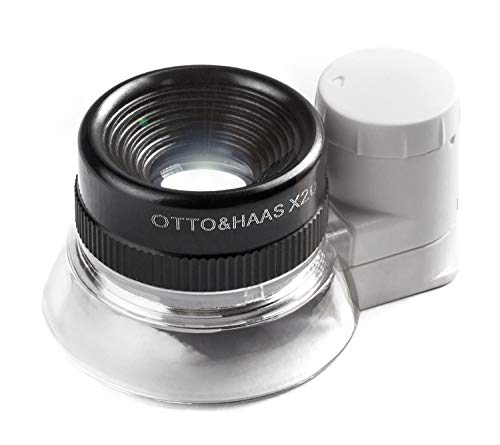 - Otto&Haas Lighted Jeweler's Loupe Magnifier - 6 LED Illuminated 20X Magnification Loop, Scope Lupe with Light for Coin Collection Supplies, Stamp Collecting, Eye-Piece for Close Work, Collector's Gift