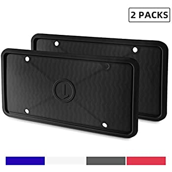 White Anti-Rust and Anti-Rattle for Car License Plate Frame with Accessories 2 Pieces Silicone License Plate Frame Rain-Proof