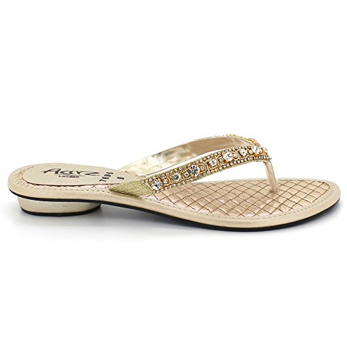 AARZ Women Size on Sandals Party Ladies Heel Toe Evening Flat Slip Gold Shoes Comfort Open Diamante LONDON Crystal rSFwrx