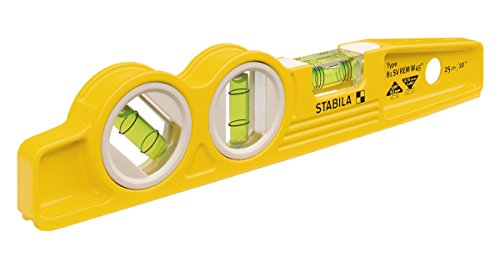 Stabila 25245 - Die Cast Magnetic Torpedo with 45 degree vial and V-groove - Torpedo Diecast Magnetic Level