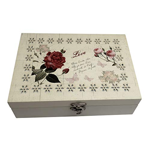 Forest & Twelfth Jewelry Box w/Beautiful Laser-Cut Flower Border, Wooden Storage Organizer for Rings, Bracelets…