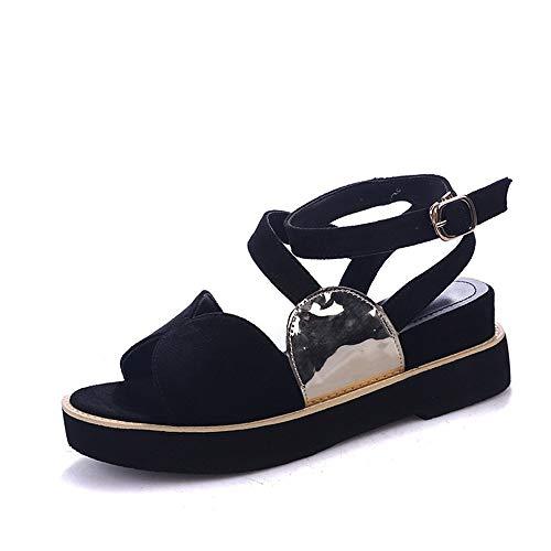 Mujer Talones Verano Pez De Plano Inclinados Nuevo Sandalias De De Calzado Sueltas De Planos Boca Zapatos black AIMENGA con Hebillas Fondo qwxUpp