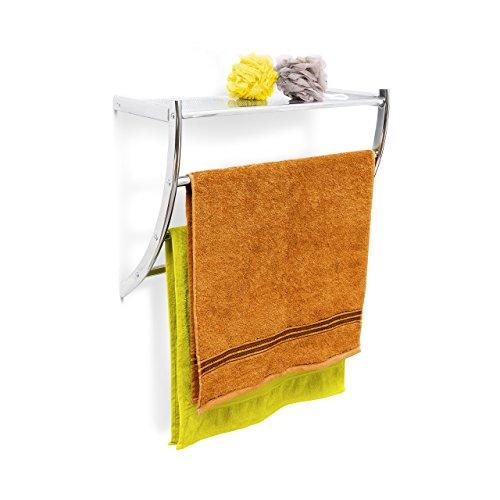 Relaxdays Wandhandtuchhalter Chrom HxBxT: ca. 43 x 56 x 23 cm Handtuchhalter zur Wandmontage mit 3 Handtuchstangen und Ablagefläche als Badregal oder kleine Wandgarderobe aus verchromtem Stahl, silber