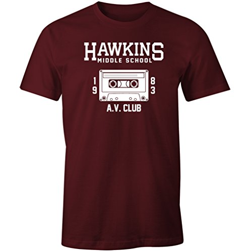 Fantastic Tees Hawkins Middle School AV Club Shirt (Maroon, S)
