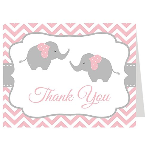 Elephant Thank You Cards, Twins, Chevron, Stripes, Baby Shower, Sprinkle, Little Peanut, Girl, Pink, Gray, Grey, 50 Printed Folding Notes with White Envelopes, Chevron Elephant Twin