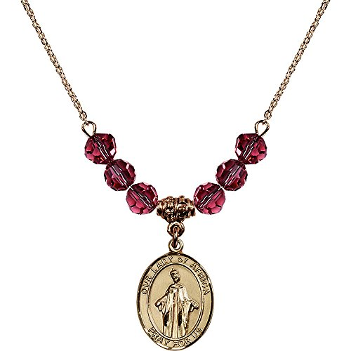 18-Inch Hamilton Gold Plated Necklace with 6mm Rose Pink October Birth Month Stone Beads and Our Lady of Africa Charm by Bonyak Jewelry