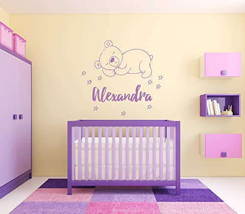 (Wall Sticker Alexandra Girl Name Sleepy Bear Stars Good Night Baby Kids Room Vinyl Mural Decal Art Decor EH4608)