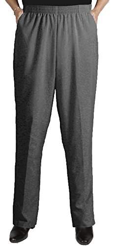Viviana Women's Plus Size Charcoal Grey Elastic Waist Shaped Fit Pant - 26W