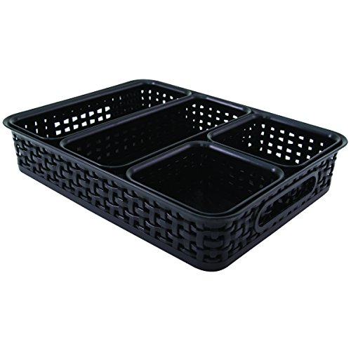 Advantus Plastic Weave Desk Organization Bins, Black, Pack of 5 - Desk Advantus