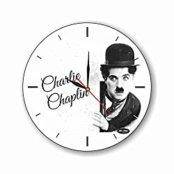 dudkaair Charlie Chaplin 11.4'' Handmade Wall Clock - Get Unique décor for Home or Office - Best Gift Ideas for Kids, Friends, Parents and Your Soul Mates