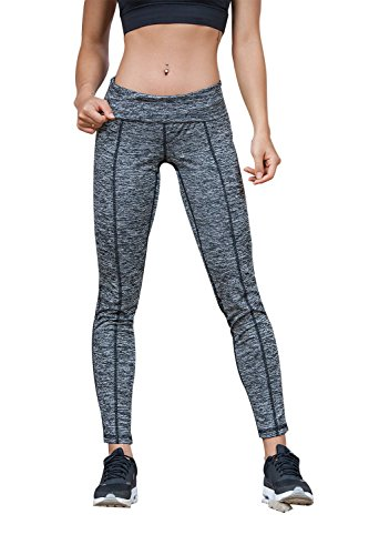 Womens Fashion Running Leggings Yoga Gym Pant With Woven Hollow Crossover Design (S, Gray) (Tank String Poly)
