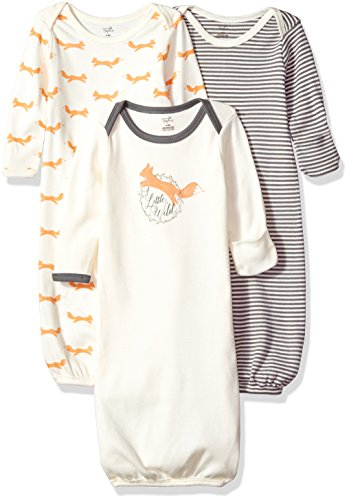 Touched by Nature Baby Organic Cotton Gowns, Fox 3-Pack, 0-6 Months