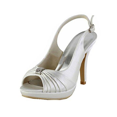 Minitoo - Zapatos de vestir para mujer White-10cm Heel