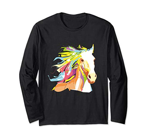 Colorful Horse Art Long Sleeve T-Shirt