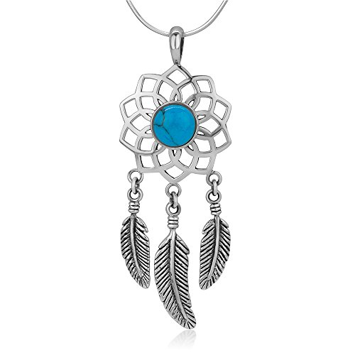 - SUVANI Sterling Silver Filigree Dreamcatcher Dangling Feathers Synthetic Turquoise Pendant Necklace 18
