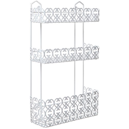 MyGift Decorative White Wall Mounted 3 Tier Shelf Baskets/Kitchen Spice Rack/Bathroom Product Holder