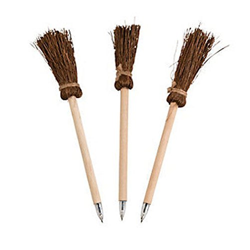 [12 Witch Warlock Broom Wooden Pens HAUNTED HOUSE Halloween Party Coven Favor] (Seven Dwarfs Costume Ideas)