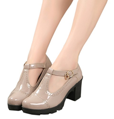 DADAWEN Women's Classic T-Strap Platform Mid-Heel Square Toe Oxfords Dress Shoes Apricot US Size - Platform Heel Shoe Casual Chunky
