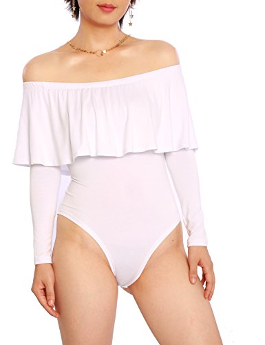 Cheapcotton Women's Bardot Neckline Ruffle Overlay Long Sleeve Bodysuit (M, White)