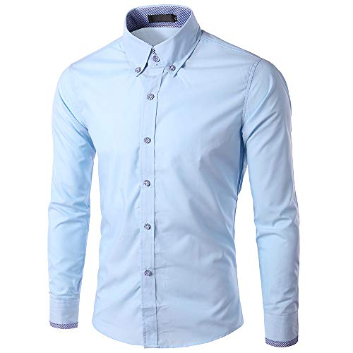 iYYVV Men's New Recreational Button Long Sleeve Shirt Fashion Solid Long Sleeve Tops