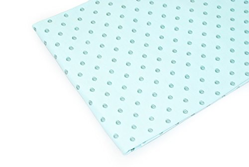 Vinlea Jersey fabric patterned, 39in. x 59in., 92% cotton, 8% spandex, Pattern: Balls of wool on pastel turquoise (Trousers Wool Spandex)