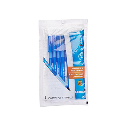 Paper Mate Write Bros. Grip Stick Medium Tip Ballpoint Pens, 8 Blue Ink Pens(8808687)