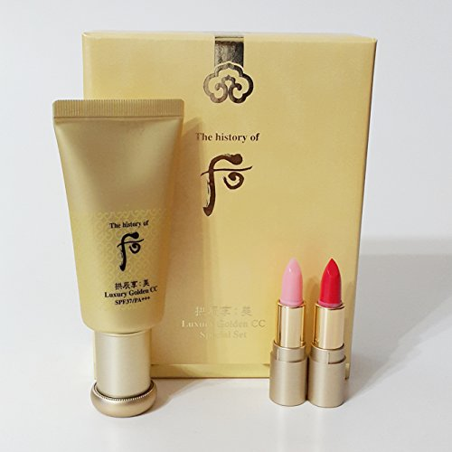 The History of Whoo Gongjinhyang Mi Luxury Golden CC Special Gift Set with Mi Secret Court Glow Lip Balm Pink & Red