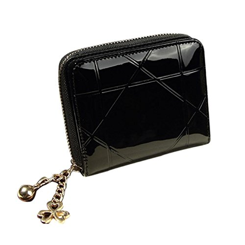 Owill Vouge Female Leather Zipper Short Pattern Small Bifold Card Holers Wallet (A, - Vouge Mens