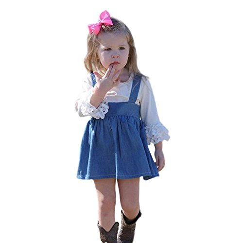 SMALLE◕‿◕ Clearance,2PCs Kid Baby Girls Long Sleeve Solid Clothes Tops+Denim Sling Casual Skirt (Cape May Sling)