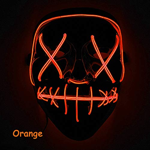 elegantstunning Scary Halloween Mask LED Light Up Mask Festival Cosplay Halloween Costume Orange -