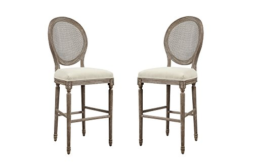 """Emerald Home Salerno Sand Gray 30"""" Bar Stool with Upholstered Seat, Carved Legs, And Rattan Back, Set of Two"""
