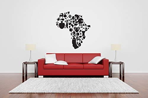 Vinyl Sticker Africa Map African Elements Wild Life Hand Prints Giraffe Elephant Zebra Animal Tribal Mask Sun Mural Decal Wall Art Decor SA3214 -