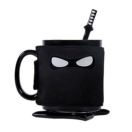 Ducomi® Ninja - Copa de cerámica con dibujo de Ninja con cuchara (1 Taza)
