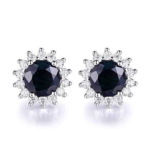 EL UNO 925 Sterling Silver Round Black Sapphire Halo Stud Earrings Women ()