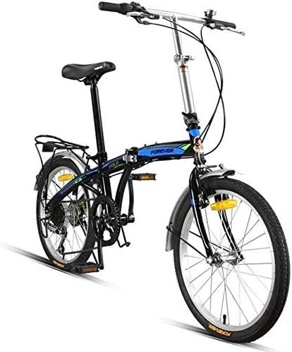 自転車 折りたたみ自転車20インチの可変速自転車大人男性女性ウルトラライトロードバイクポータブル市自転車有人自転車の衝撃吸収学生 (Color : Black blue)