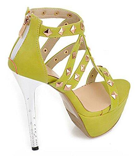 Easemax Donna Elegante Tacco Alto Con Plateau Posteriore Con Cerniera Tempestato Di Stiletto Aperto Sandalo Verde
