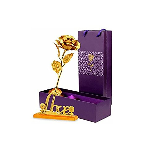 Gift Gallery Gold Plated Gold Rose With Gift Box And Love Stand