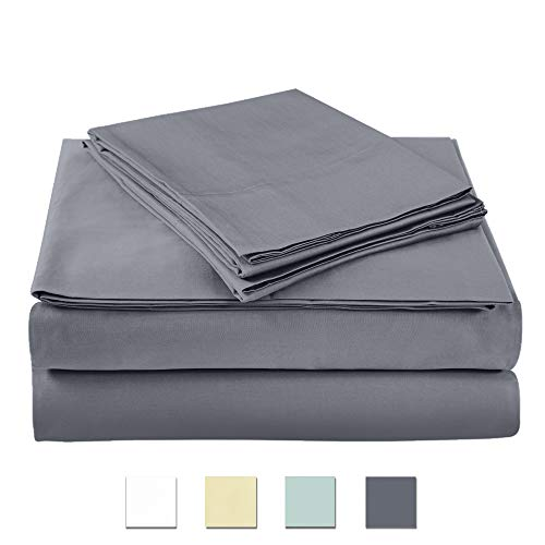 - 400 Thread Count 100% cotton Sheet Set, Charcoal Queen Sheet Set, 4-piece Long Staple Combed Pure Cotton best sheets for bed, Breathable, Soft & Silky Sateen Weave Fits Mattress upto 18