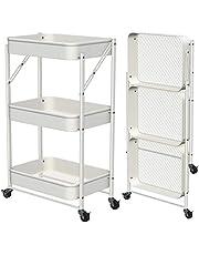 CM67 Składany wózek do serwowania, wózek na kółkach, 3 poziomy, metalowy kosz z kratką, składany wózek do serwowania, z rolkami